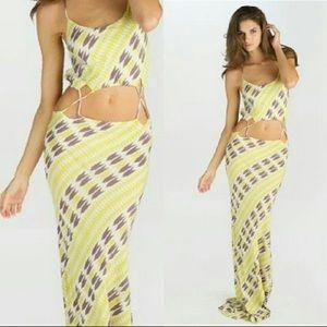 Acacia Santiago Maxi/Midi Line Green Arrow Dress M